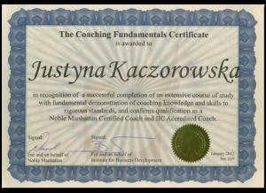 Certyfikat coacha I stopnia